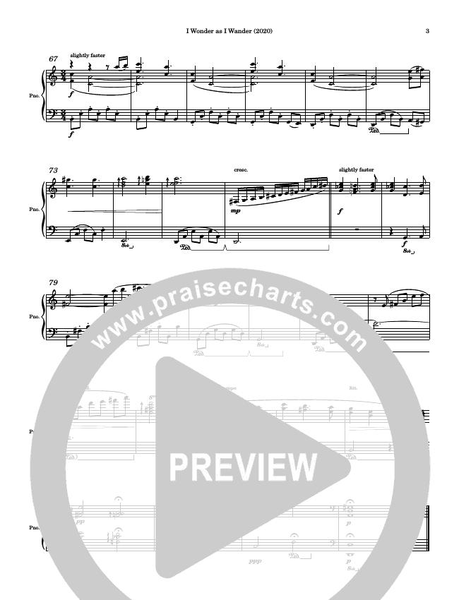 I Wonder As I Wander Piano Sheet (Ric Flauding)