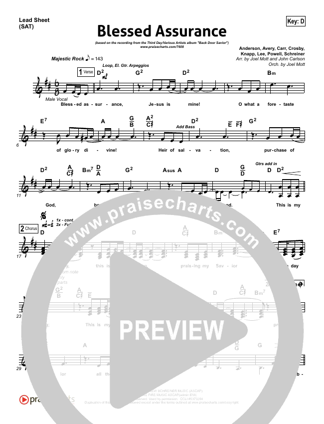 Blessed Assurance Lead Sheet (SAT) (Third Day)