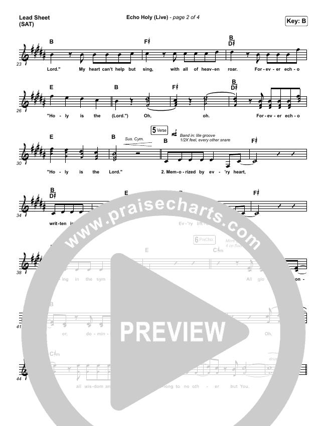 Echo Holy Lead Sheet (SAT) (Red Rocks Worship)