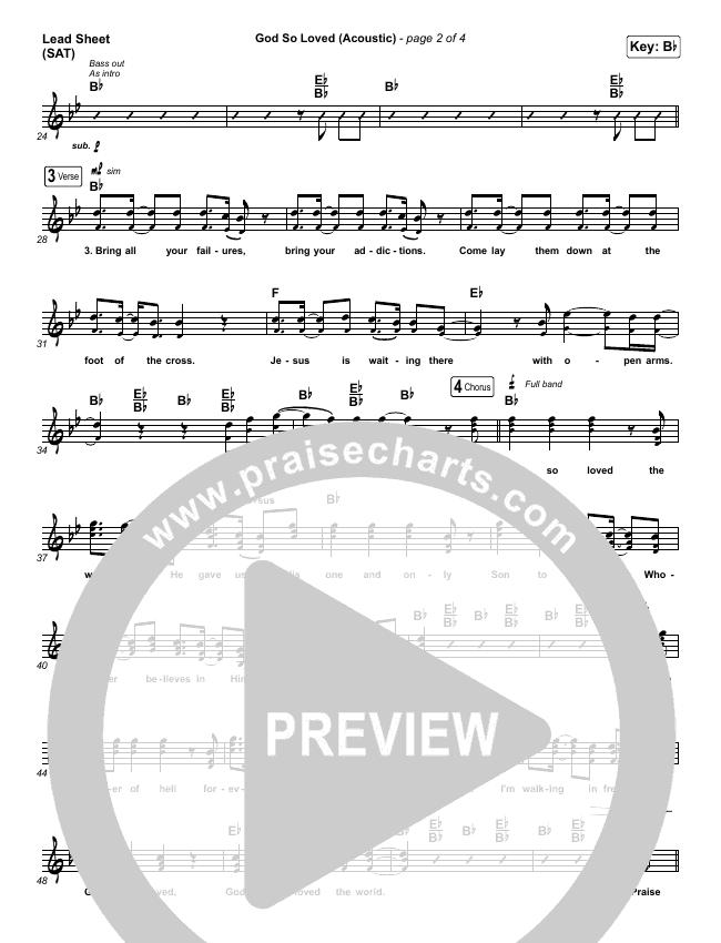 God So Loved (Acoustic) Lead Sheet (SAT) (We The Kingdom)