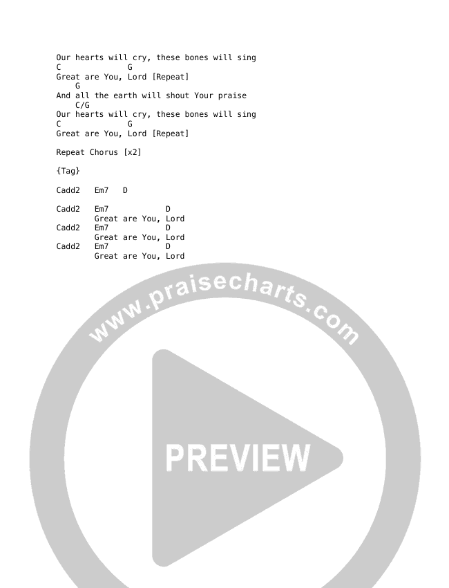 Great Are You Lord Chord Chart (REVERE / Mark Barlow / MDSN)