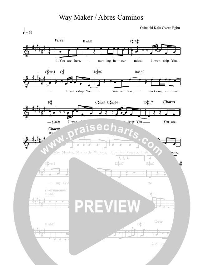 Way Maker (Abres Caminos) Lead & Piano (REVERE / David & Nicole Binion / Phil Thompson)
