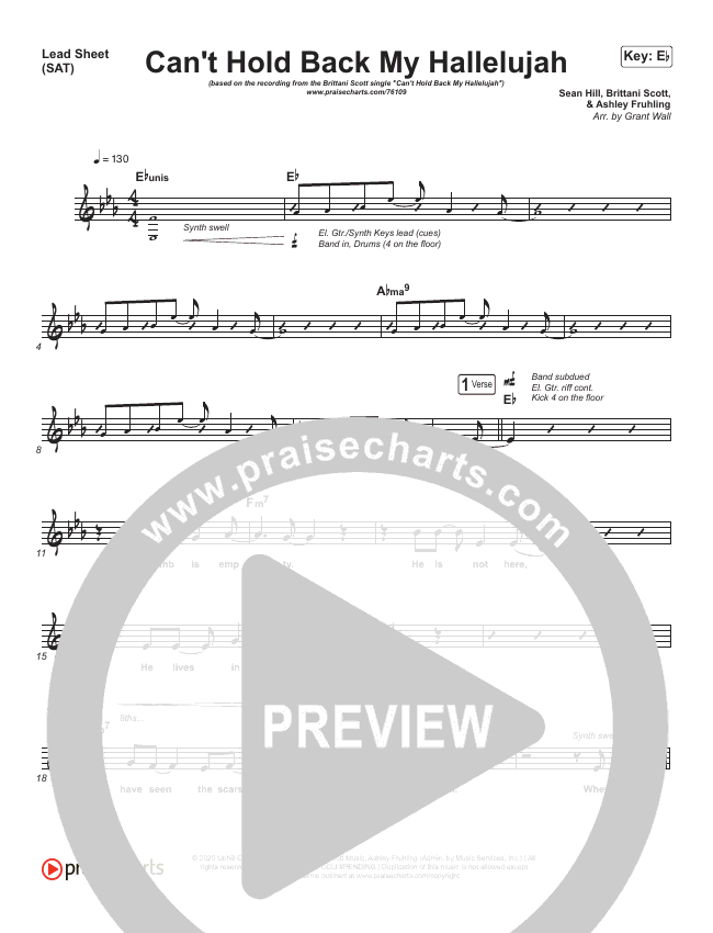 Can't Hold Back My Hallelujah Lead Sheet (Brittani Scott)