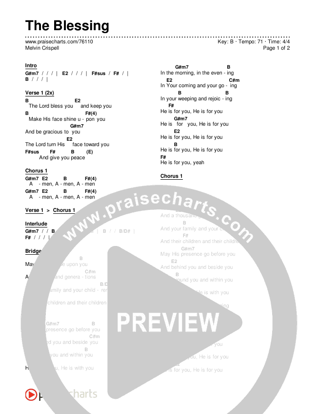 The Blessing Chords & Lyrics (Melvin Crispell)