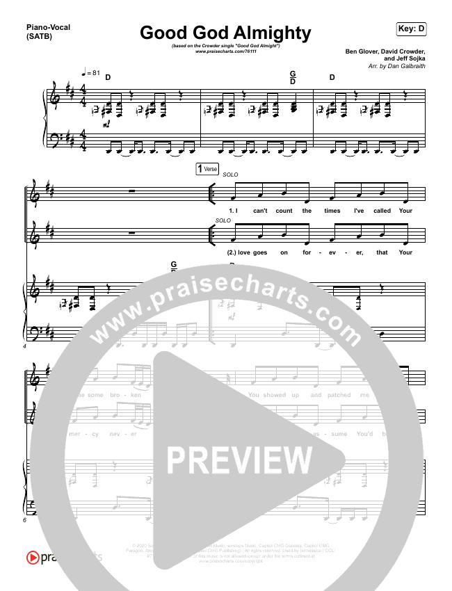 Good God Almighty Piano/Vocal (SATB) (Crowder)