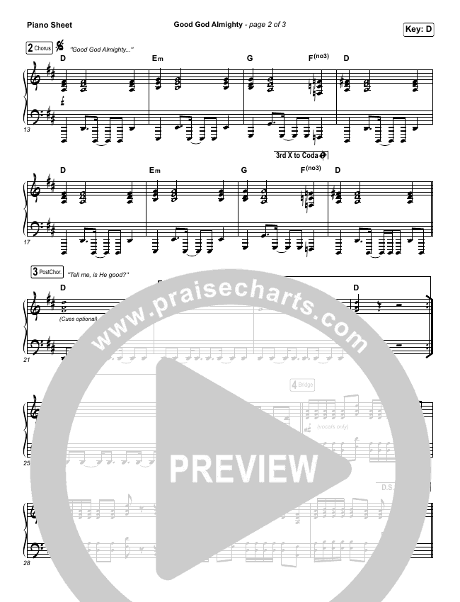 Good God Almighty Piano Sheet (Crowder)