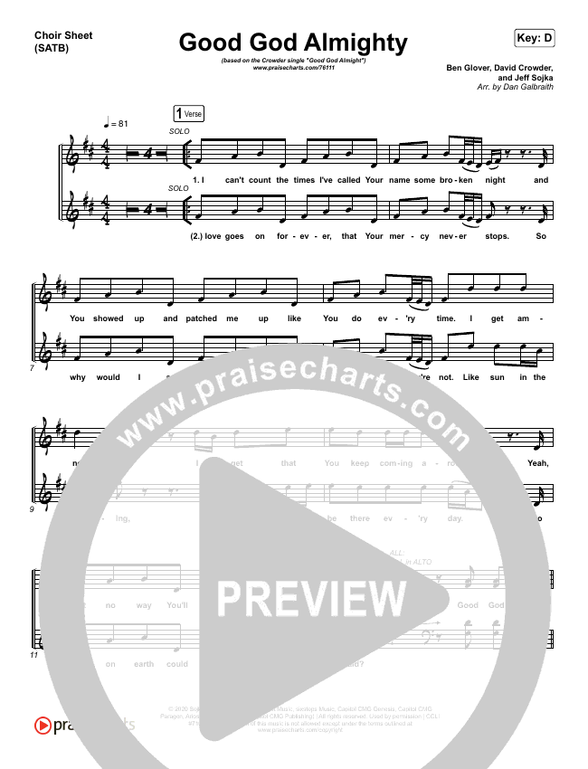Good God Almighty Choir Sheet (SATB) (Crowder)