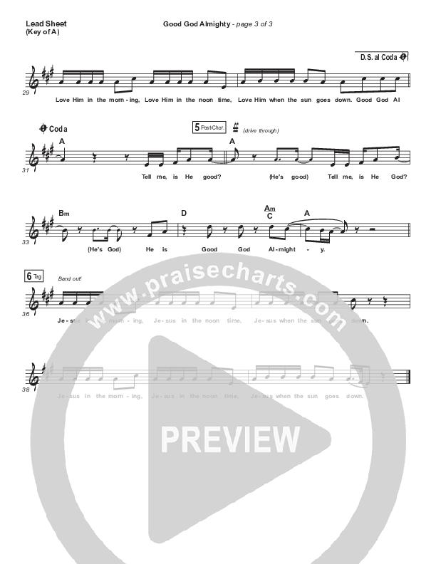 Good God Almighty Lead Sheet (Melody) (Crowder)