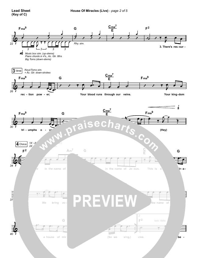 House Of Miracles (Live) Lead Sheet (Melody) (Brandon Lake)