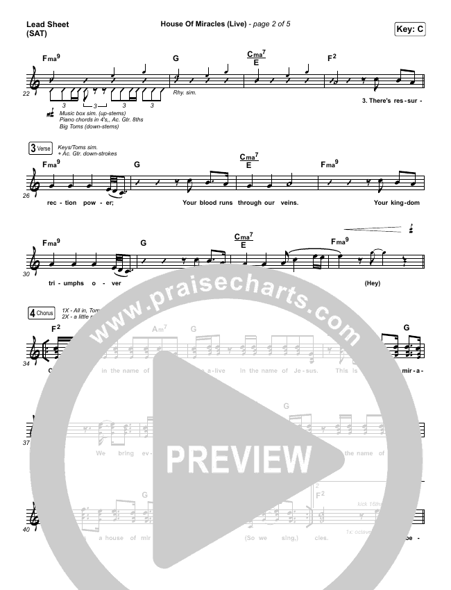 House Of Miracles (Live) Lead Sheet (SAT) (Brandon Lake)