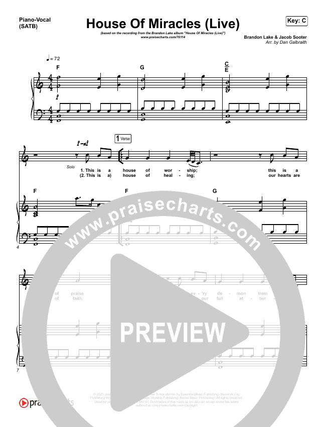 House Of Miracles (Live) Piano/Vocal (SATB) (Brandon Lake)