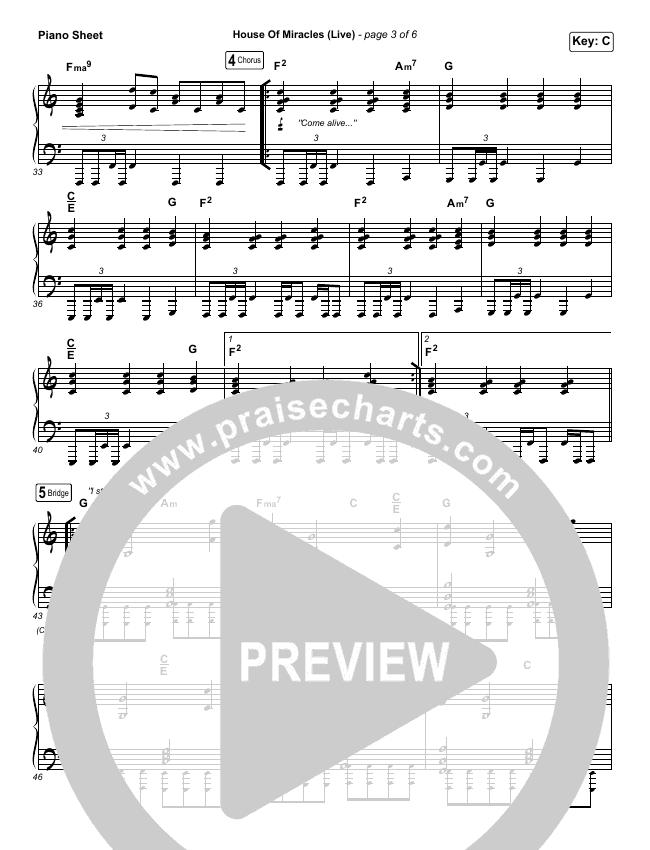 House Of Miracles (Live) Piano Sheet (Brandon Lake)
