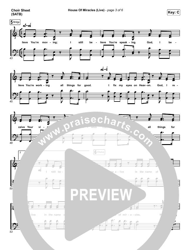 House Of Miracles (Live) Choir Sheet (SATB) (Brandon Lake)