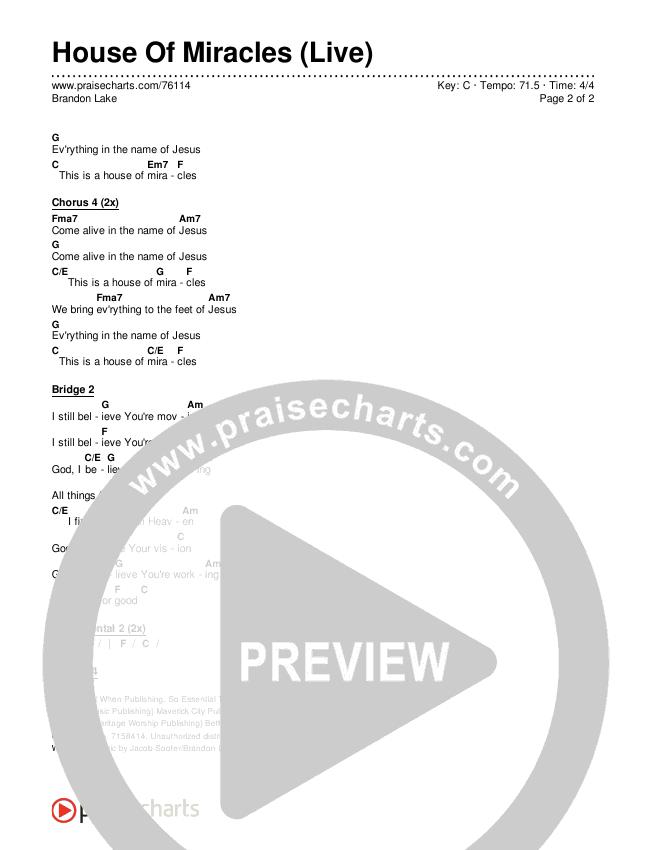 House Of Miracles (Live) Chords & Lyrics (Brandon Lake)