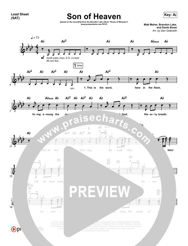 Son Of Heaven (Live) Lead & Piano/Vocal (Brandon Lake / Matt Maher / Dante Bowe)