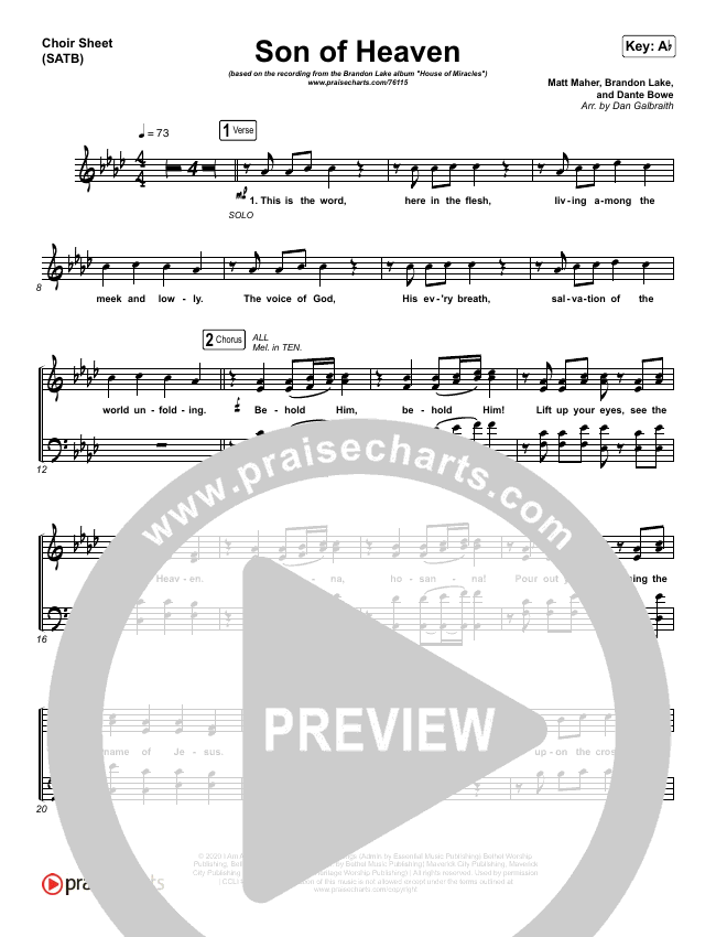 Son Of Heaven (Live) Choir Sheet (SATB) (Brandon Lake / Matt Maher / Dante Bowe)