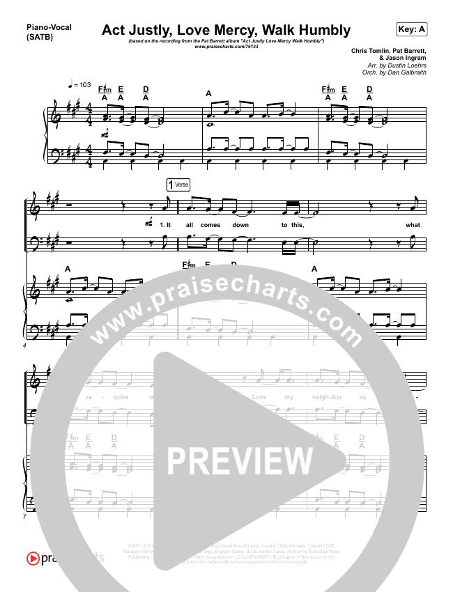 Act Justly Love Mercy Walk Humbly Piano/Vocal (SATB) (Pat Barrett)