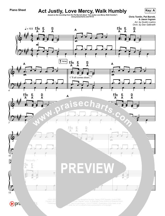 Act Justly Love Mercy Walk Humbly Piano Sheet (Pat Barrett)