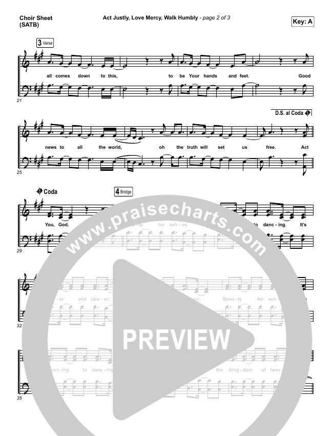 Act Justly Love Mercy Walk Humbly Choir Sheet (SATB) (Pat Barrett)