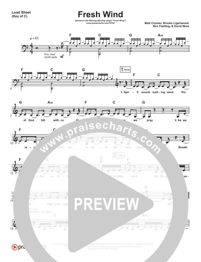 Fresh Wind Lead Sheet (Melody) (Hillsong Worship)