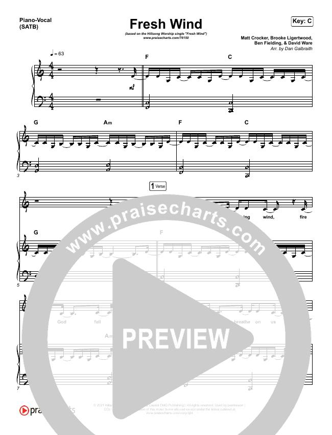 Fresh Wind Piano/Vocal (SATB) (Hillsong Worship)