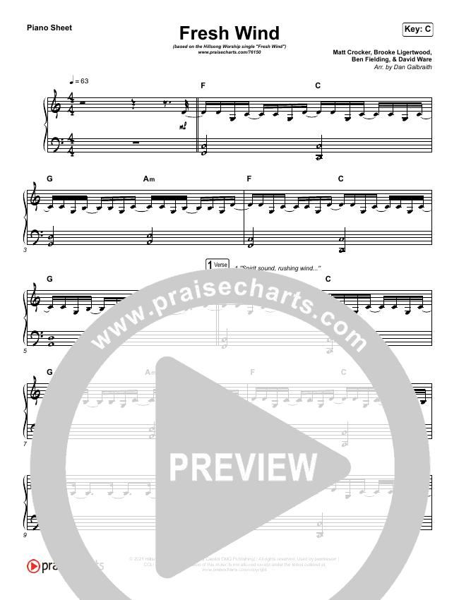 Fresh Wind Piano Sheet (Hillsong Worship)