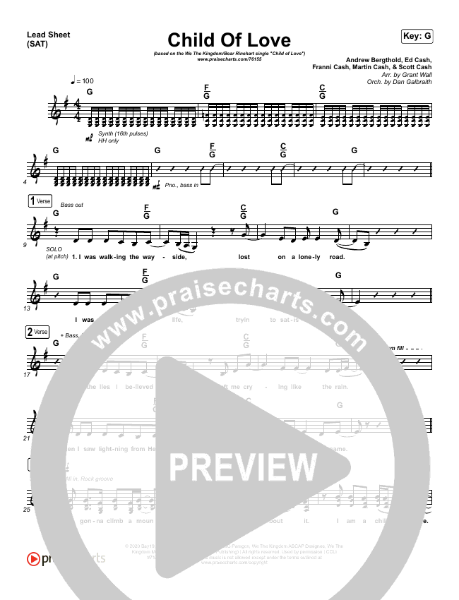 Child Of Love Piano/Vocal Pack (We The Kingdom / Bear Rinehart)