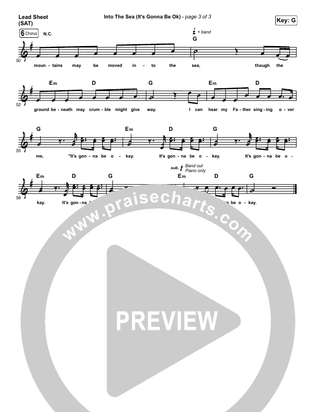 into the sea (it's gonna be ok) sheet music pdf (tasha layton) -  praisecharts  praisecharts