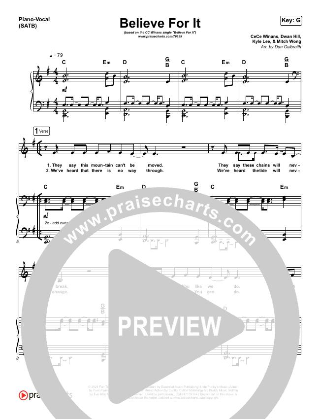 Believe For It Piano/Vocal (SATB) (CeCe Winans)