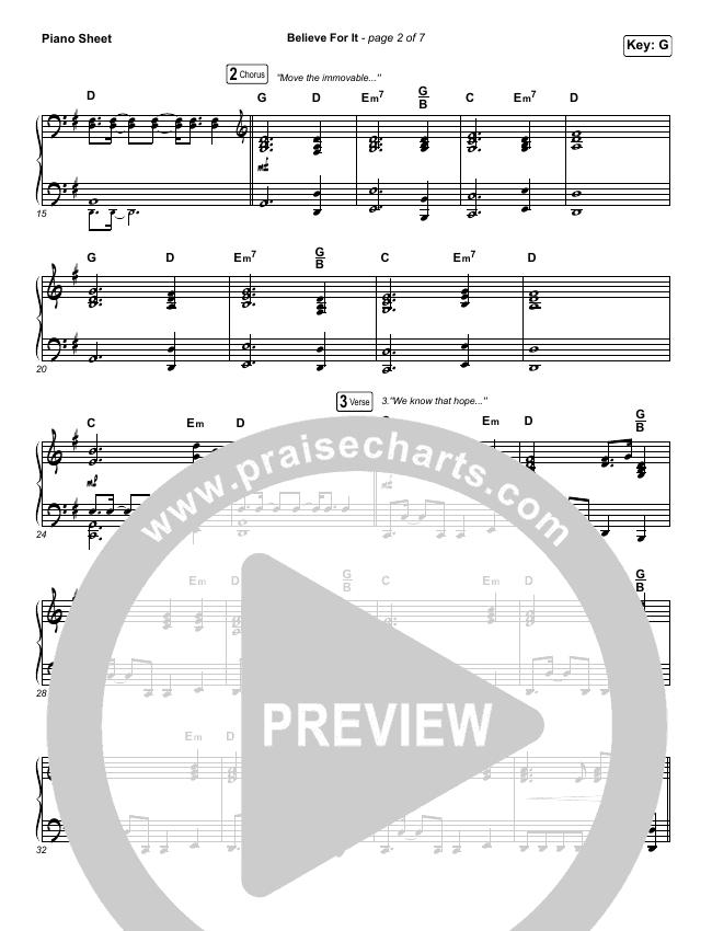 Believe For It Piano Sheet (CeCe Winans)
