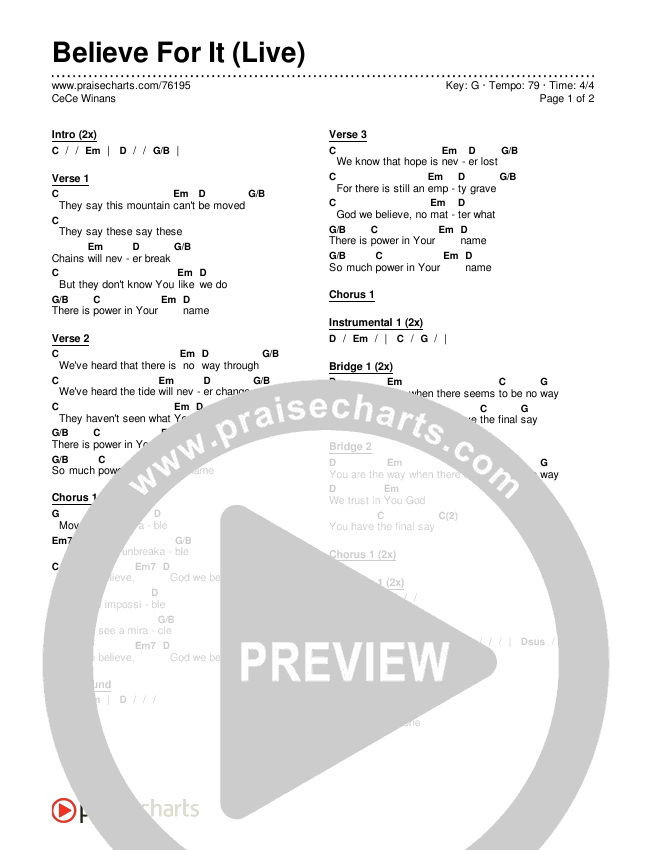 Believe For It (Live) Chords & Lyrics (CeCe Winans)