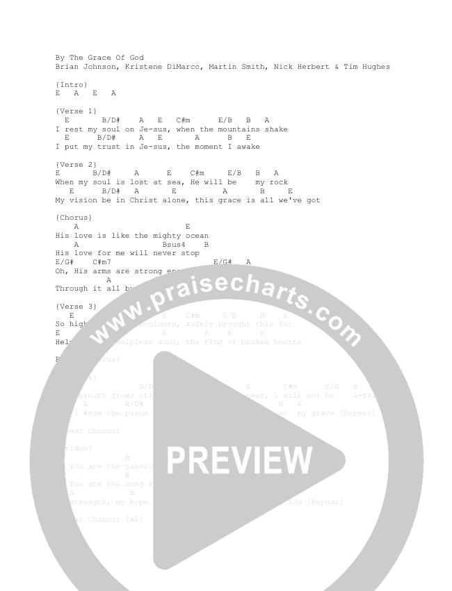 By The Grace Of God Chord Chart (Gas Street Music)