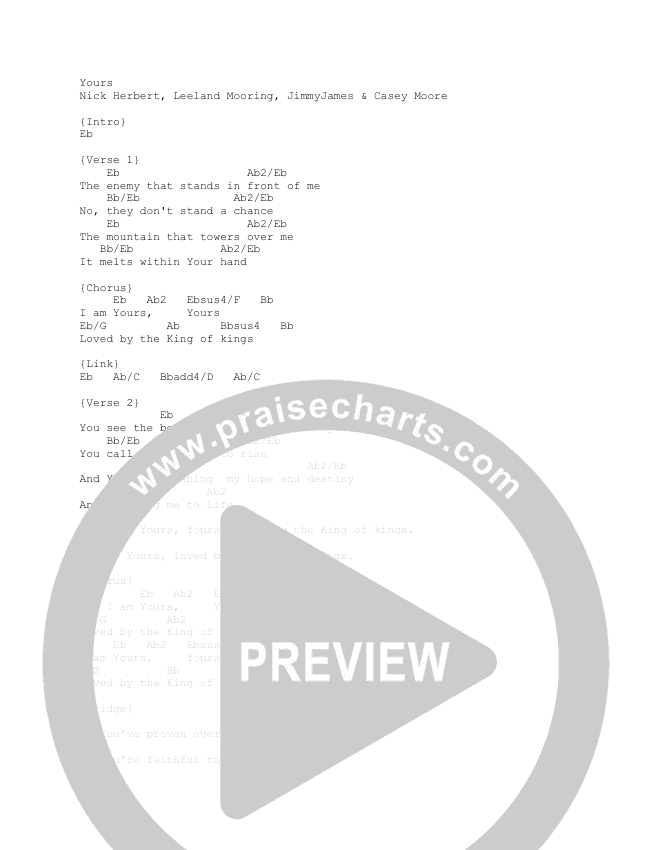 Yours Chord Chart (Gas Street Music / Leeland)