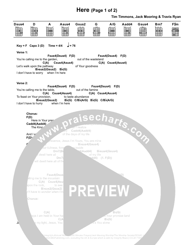 Here Chord Chart (Tim Timmons)