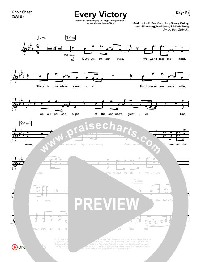 Every Victory Choir Sheet (SATB) (The Belonging Co / Danny Gokey)