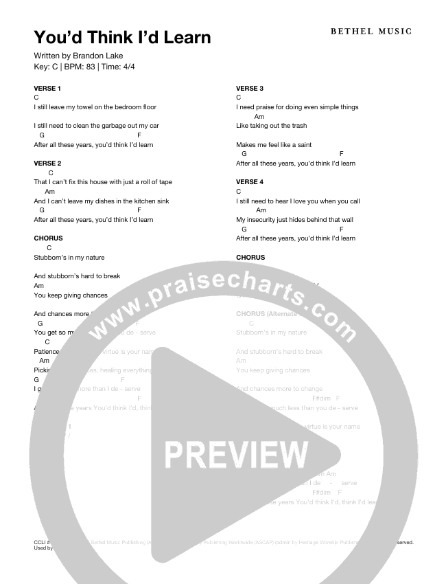 You'd Think I'd Learn Chord Chart (Brandon Lake)