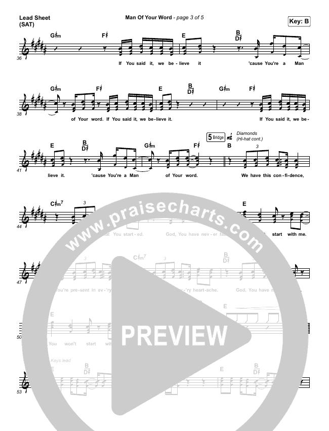 Man Of Your Word Lead Sheet (SAT) (Maverick City Music)