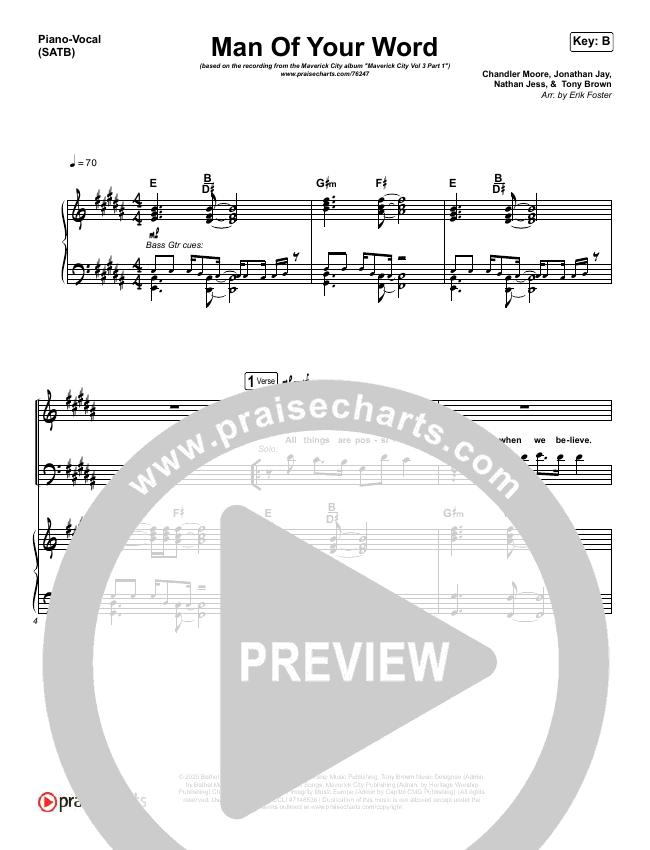 Man Of Your Word Piano/Vocal (SATB) (Maverick City Music)