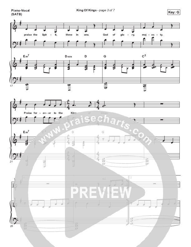 King Of Kings Piano/Vocal (SATB) (Chandler Moore)