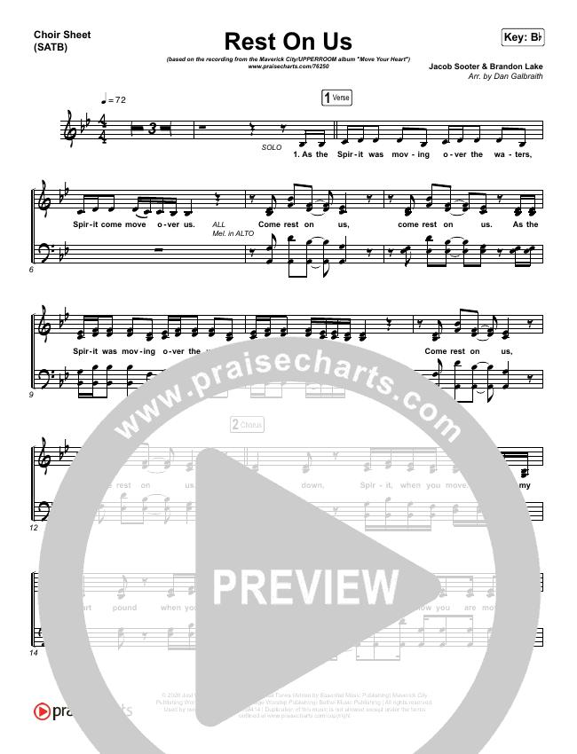 Rest On Us Choir Sheet (SATB) (Maverick City / UPPERROOM / Brandon Lake / Eniola Abioye)