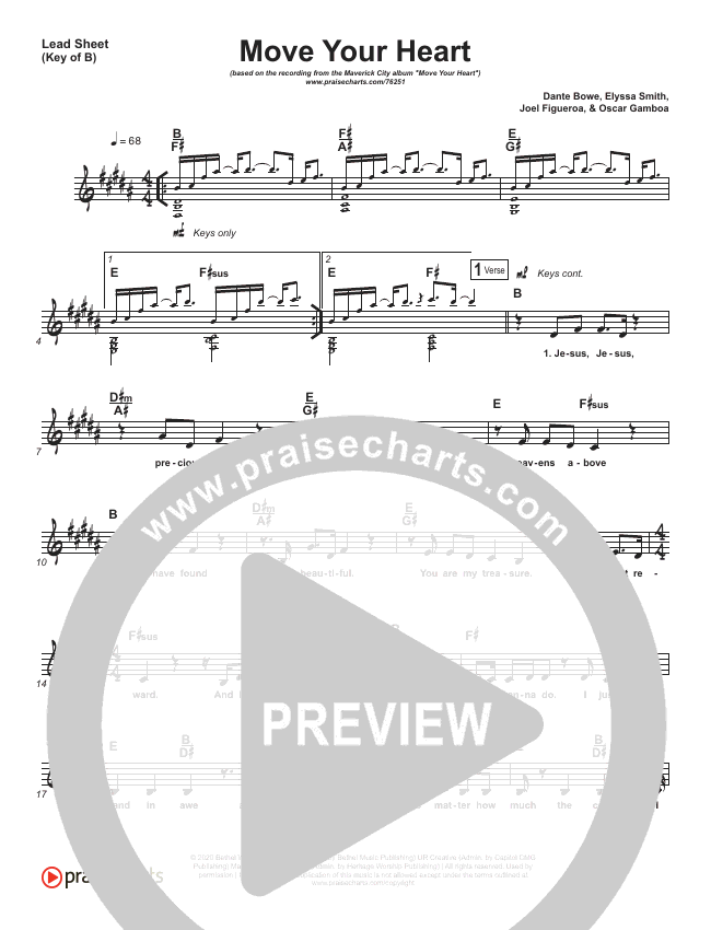 Move Your Heart Lead Sheet (Melody) (Maverick City Music / UPPERROOM / Dante Bowe / Elyssa Smith)