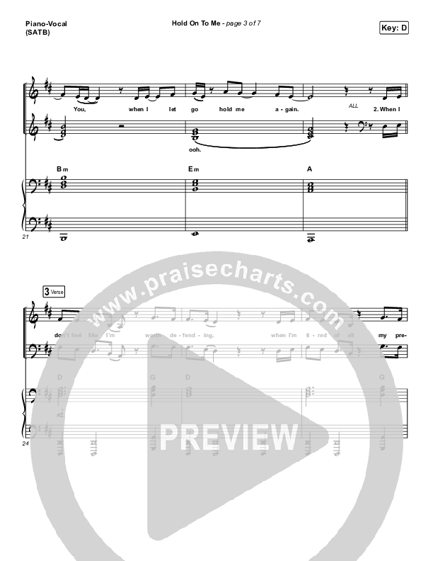 Hold On To Me Piano/Vocal (SATB) (Lauren Daigle)