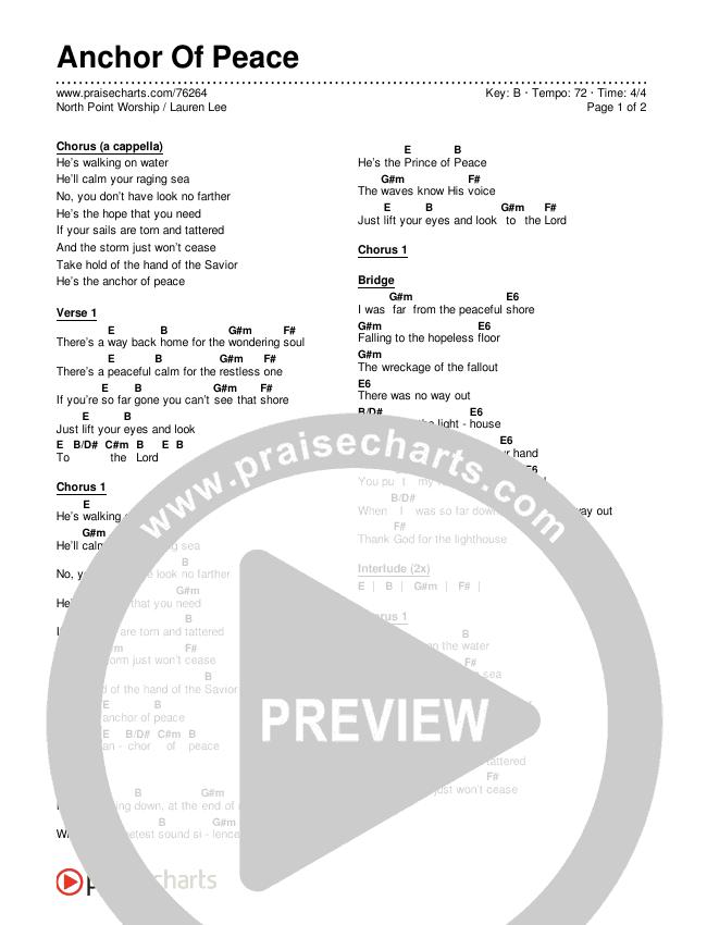 Anchor Of Peace (Live) Chords & Lyrics (North Point Worship / Lauren Lee)
