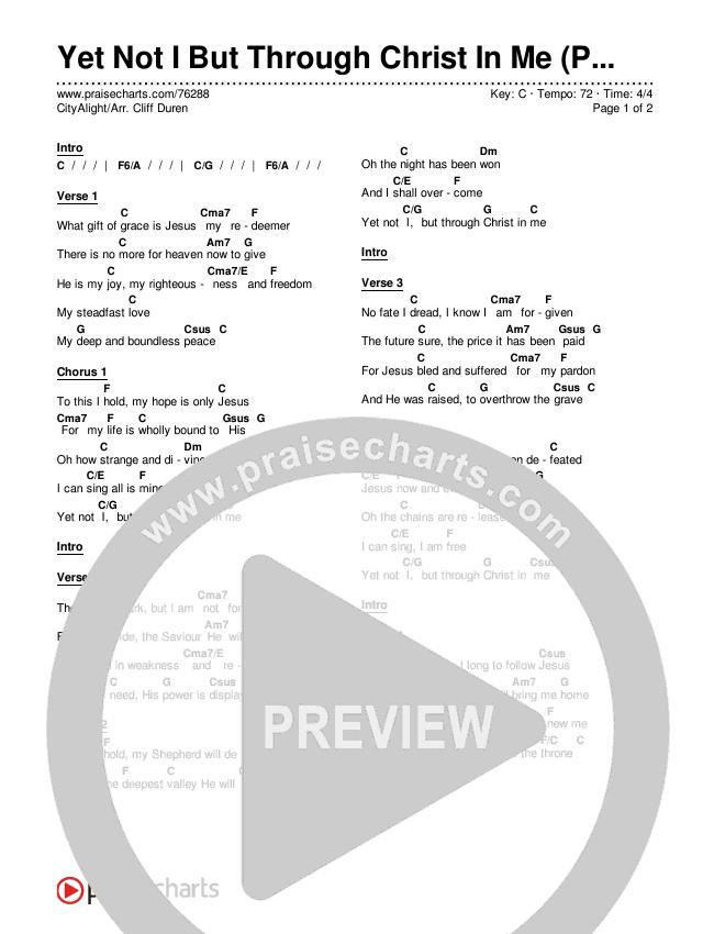 Yet Not I But Through Christ In Me (Premium) Chords & Lyrics (CityAlight / Arr. Cliff Duren)