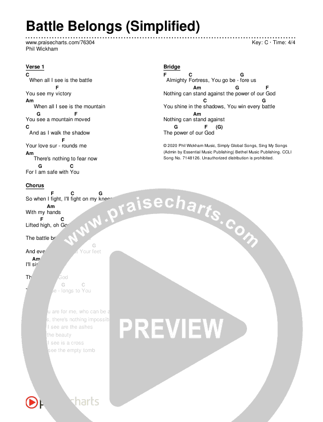 Battle Belongs (Simplified) Chords & Lyrics (Phil Wickham)