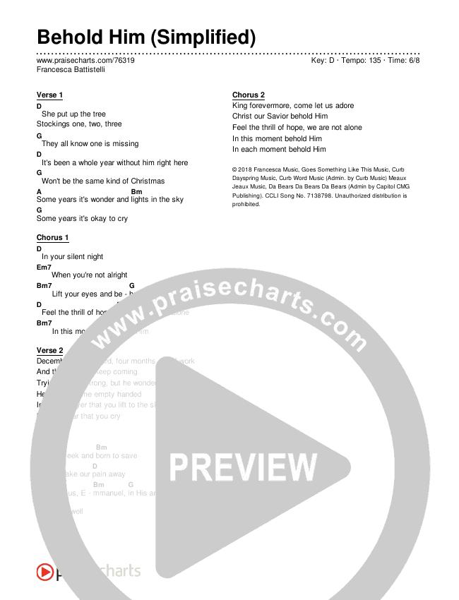 Behold Him (Simplified) Chords & Lyrics (Francesca Battistelli)
