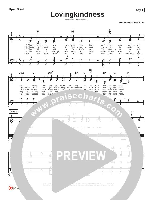 Lovingkindness Hymn Sheet (Keith & Kristyn Getty / Matt Redman / Matt Boswell / Matt Papa)