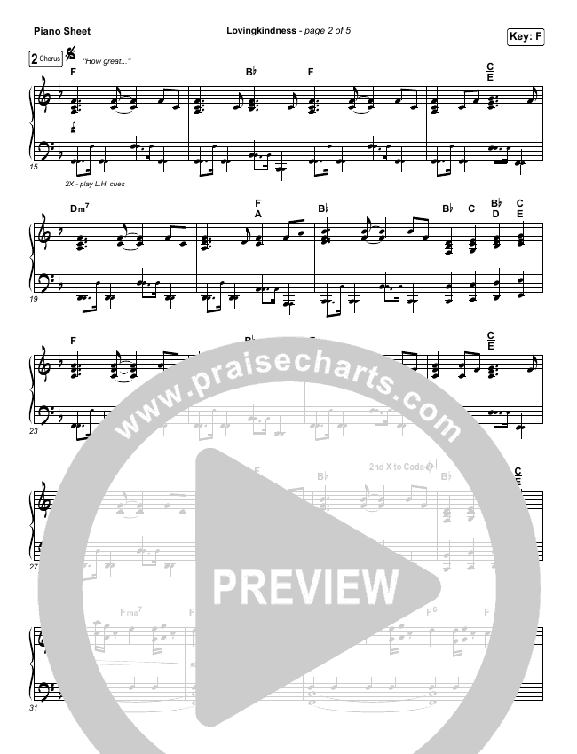 Lovingkindness Piano Sheet (Keith & Kristyn Getty / Matt Redman / Matt Boswell / Matt Papa)