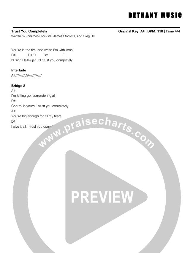 Trust You Completely Chord Chart (Jonathan Stockstill)
