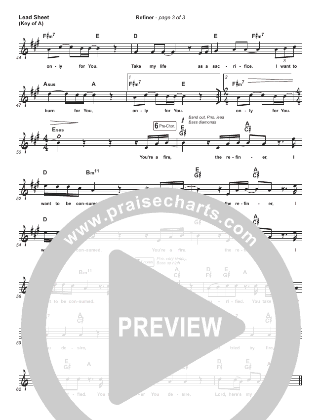 Refiner Lead Sheet (Melody) (Maverick City Music / Steffany Gretzinger)
